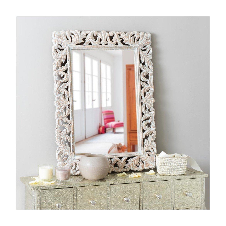 Zrcadlo Retrospective 60x90 ručně vyřezávané z masivu mango