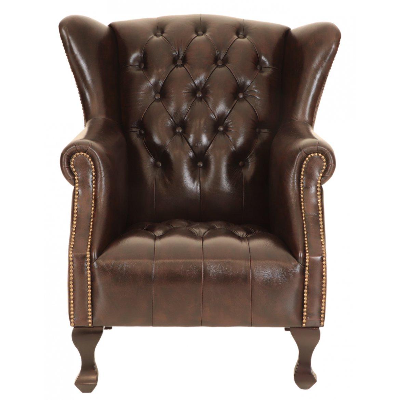 Levně Křeslo Cardiff z pravé hovězí kůže Brown