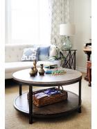 Kulatý konferenční stolek z mangového dřeva