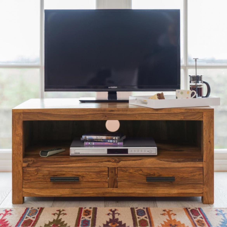 indickynabytek.cz - TV stolek Rami 120x50x45 z indického masivu palisandr / sheesham Světle medová